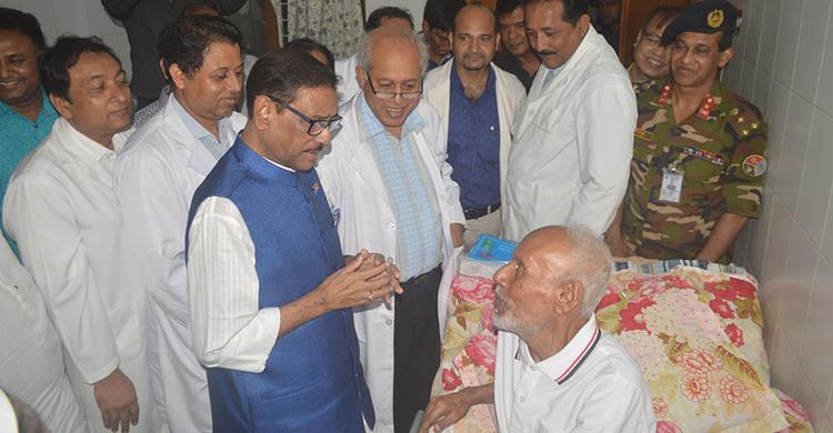 Quader visits ailing actor ATM Shamsuzzaman